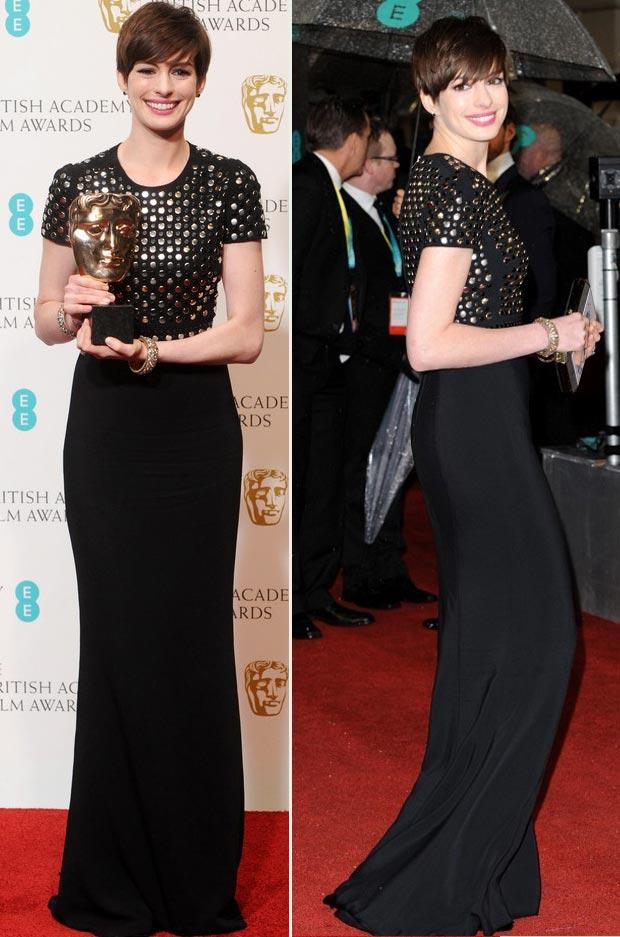 anne-hathaway-burberry-black-studded-dress-2013-bafta