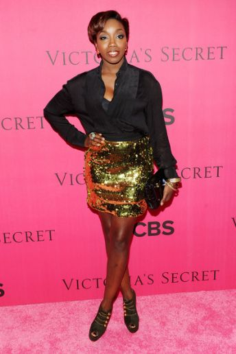 Singer Estelle arrives for the 2010 Victoria`s Secret Fashion Show at the Lexington Avenue Armory on November 10, 2010 in New York City.