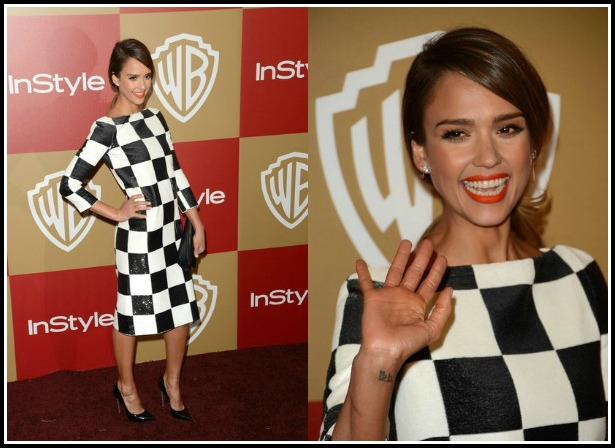 Jessica-Alba-Warner-Bros-And-InStyle-Golden-Globe-Awards-After-Party-Louis-Vuitton-Checkered-Print-Dress-Spring-2013-Casadei-Pointed-Toe-Blade-Pumps-9