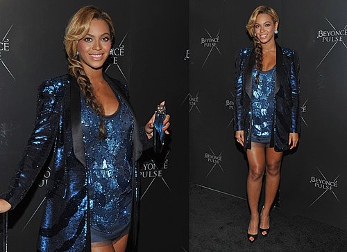 Pregnant-Beyonce-Pictures-Short-Blue-Sparkly-Dress-New-York-Launch-Pulse-Fragrance