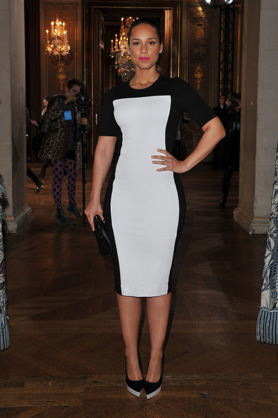 Alicia Keys in Stella McCartney monochrome dress