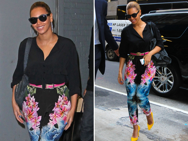 Beyonce in a  floral jumpsuit