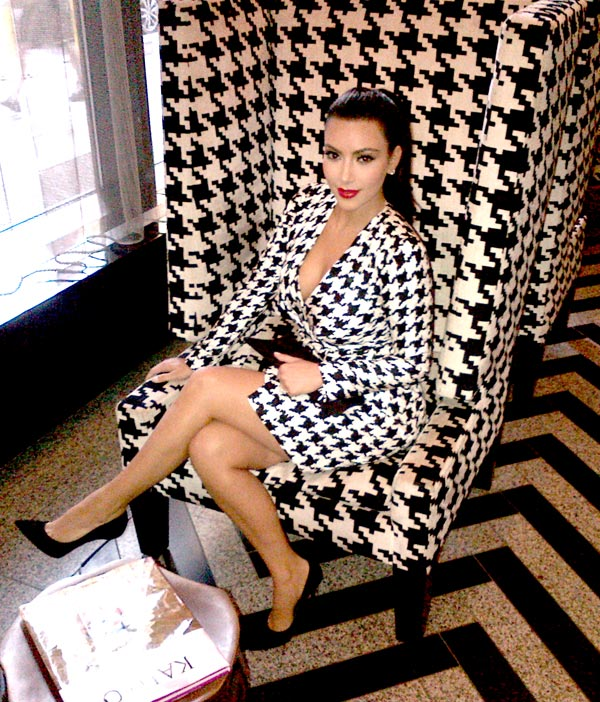 Kim-Kardashian-Wears-A-Salvatore-Ferragamo-Houndstooth-Dress