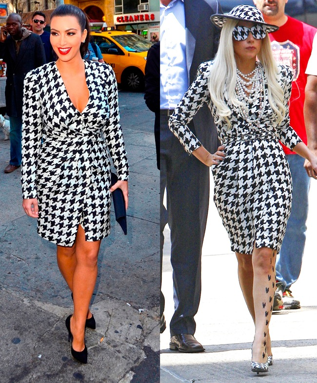 Lady Gaga's Ferragamo houndstooth style was stolen by Kim 2 months later.