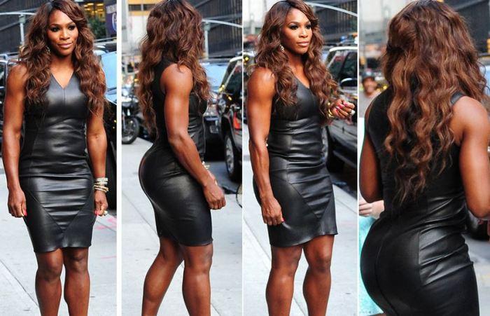 Serena-Williams-Black-Leather-Dress