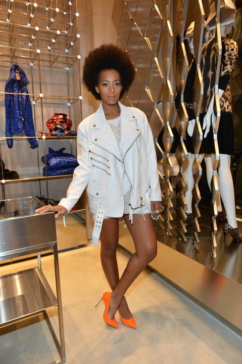 solange-knowles-just-cavalli-boutique-opening-milan-white-leather-motorcycle-spring-2013-jacket-knit-dress-casadei-fluo-blade-pumps