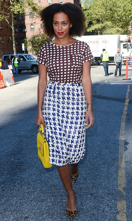 Solange-Knowless-NYFW-Dotted-Top-J.Crew-All-Over-Sequin-Houndstooth-Skirt-Dolce-Gabbana-Bag-and-Leopard-Pumps