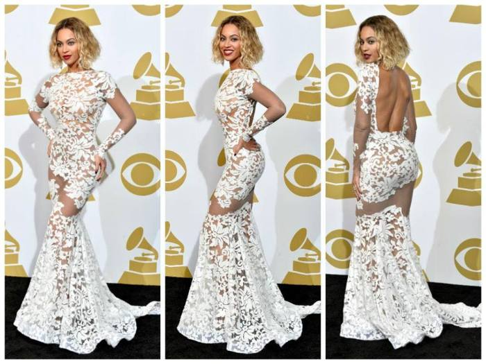 Beyonce in a white gown