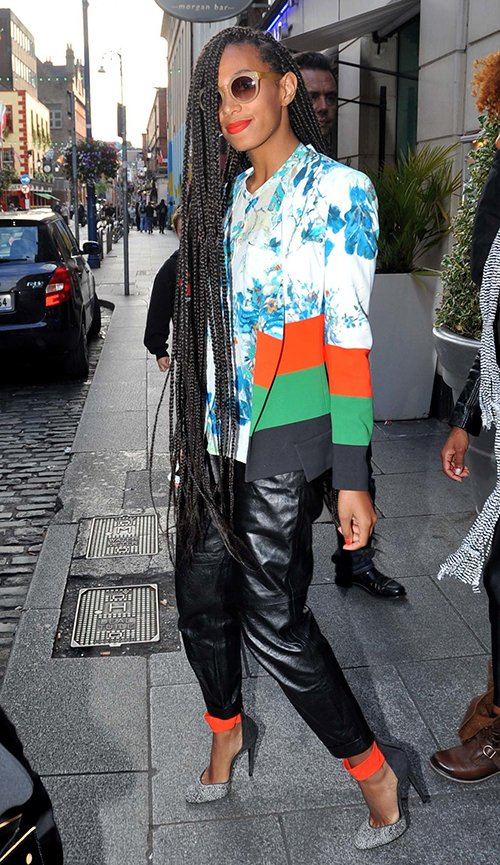 Hot-or-Hmm-Solange-Knowles-Dublin-Blue-and-White-Floral-Blazer-and-Pierre-Hard-Ankle-Strap-Heels