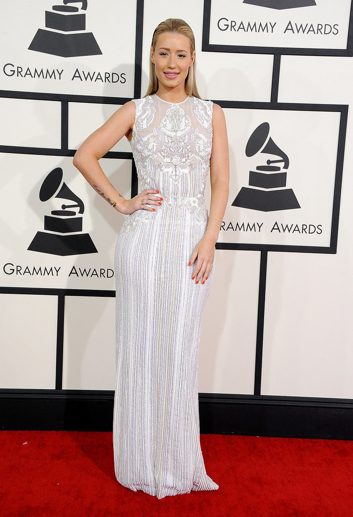 Iggy Azalea chose an ethereal fully sequined Elie Saab and a few dainty gold rings.