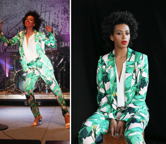 Solange Knowles in Mia Moretti for Pencey Jungle Print Suit