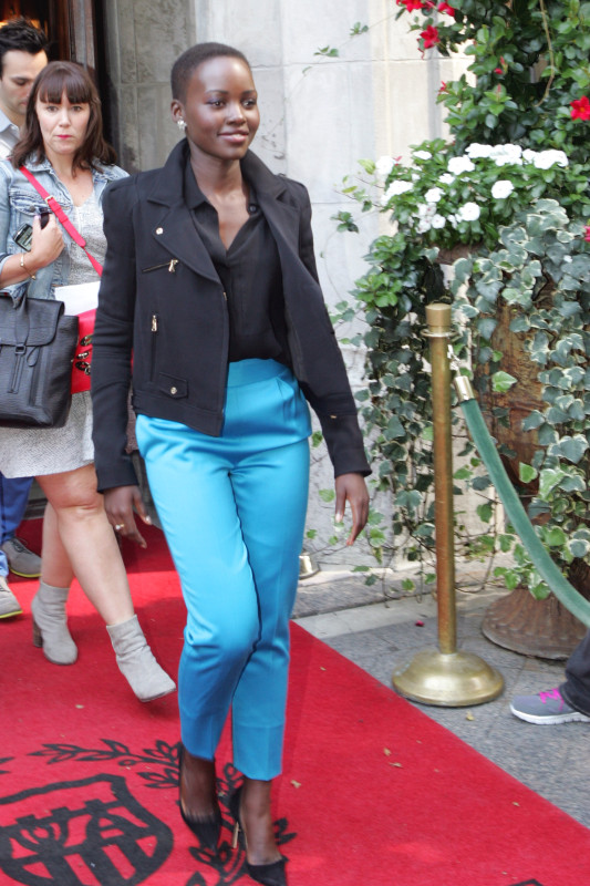 Lupita Nyong'o leaves a gift lounge during Toronto Film Festival