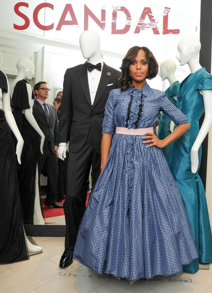 Washington-promoted-third-season-Scandal-Saks-Fifth-Avenue-New-York-city-wearing-custom-Prada-ball-gown