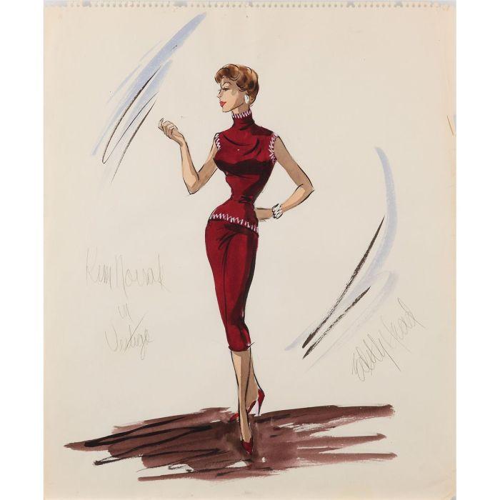 Edith Head costume design sketch for Kim Novak from Vertigo - (Paramount, 1958)