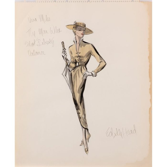 Edith Head costume design sketch for Vera Miles from The Man Who Shot Liberty Valance - (Paramount, 1962)