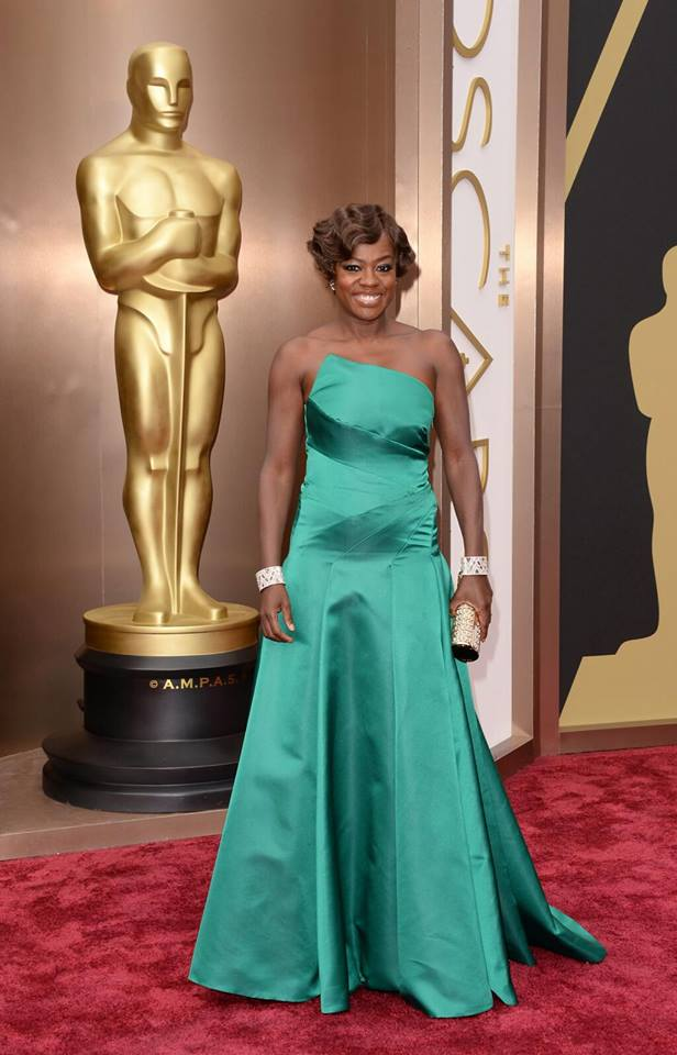 Actress Viola Davis, wearing a green ESCADA gown. Thoughts?