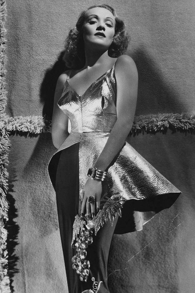 Marlene Dietrich Modeling Famous Dress