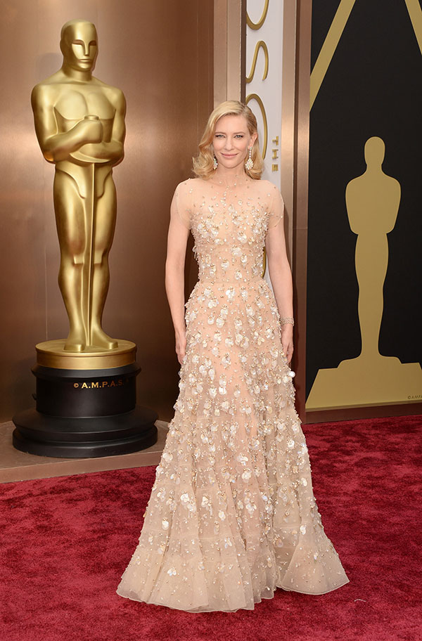 Cate Blanchett in a romantic cap sleeve dress with degrade sequins and light gold swarovski baguettes by Armani Prive
