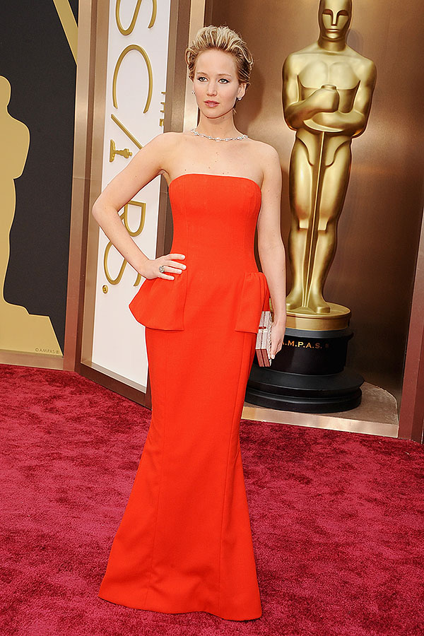 Jennifer Lawrence in a peplum detailed Dior gown