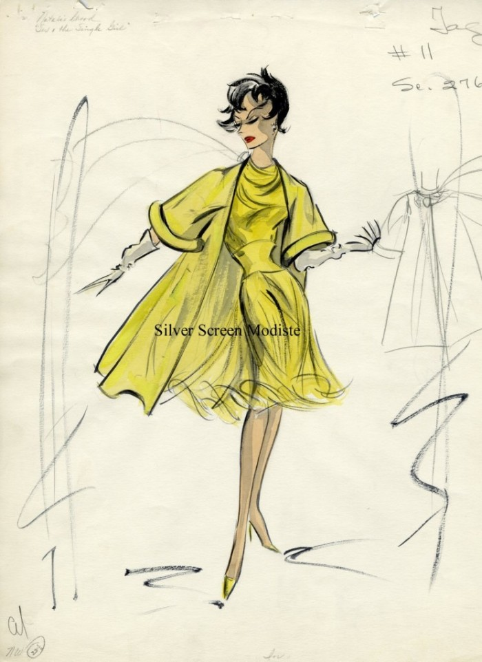 Edith Head costume sketch for Natalie Wood
