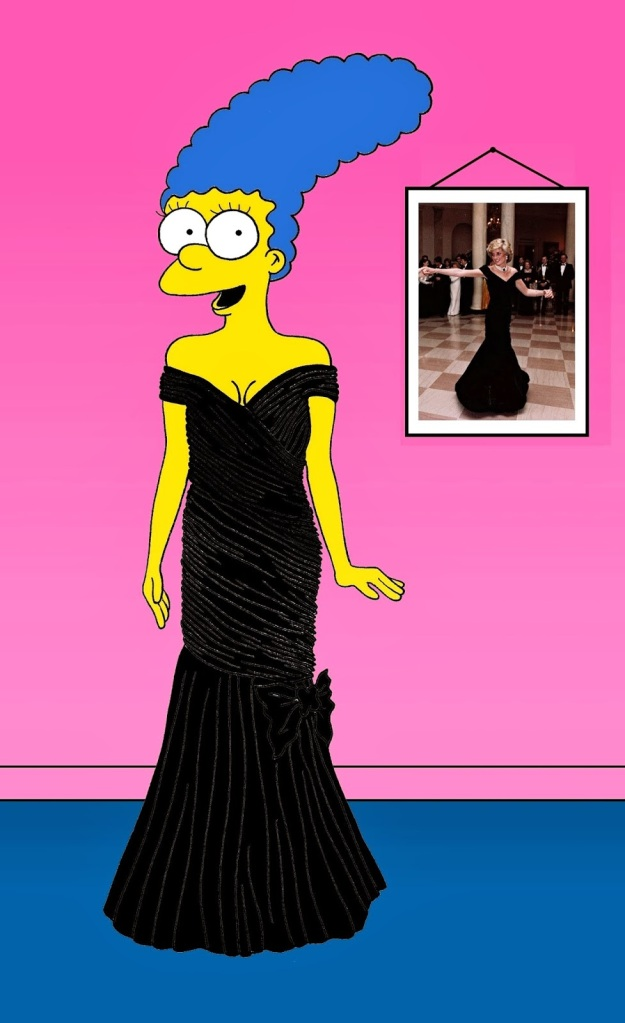 Marge Simpson as Princess Diana Princess Diana in Catherine Walker This dress Diana wore while dancing with  John Travolta at the White House in 1985.