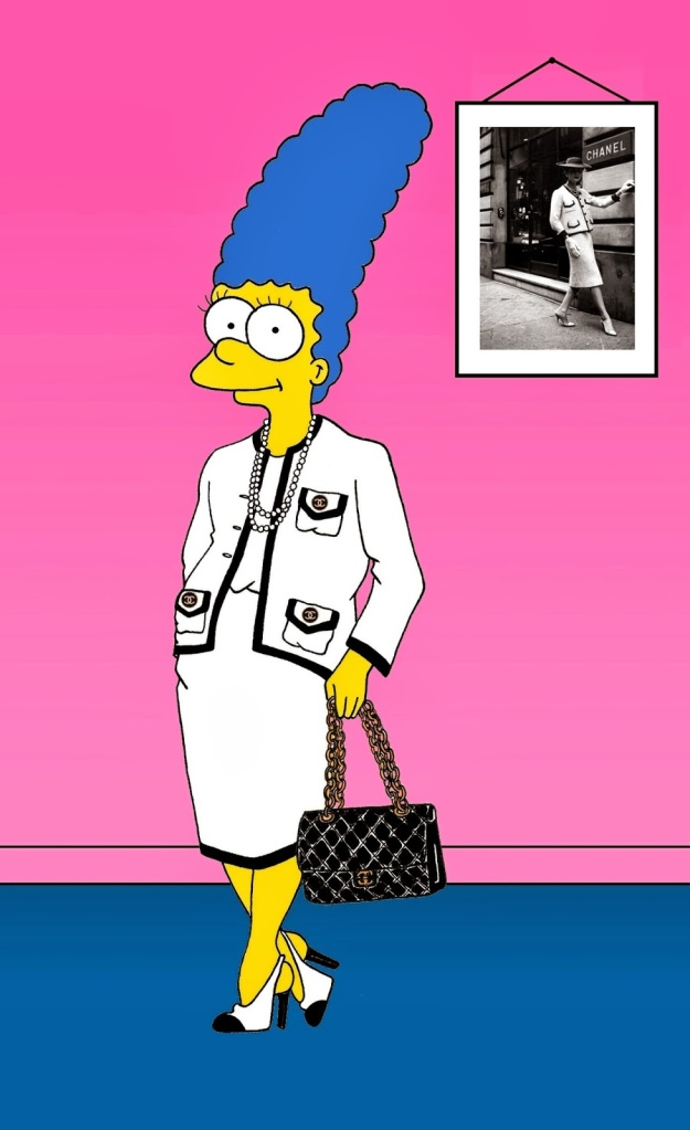 Marge Simpson as Coco Chanel. Coco Chanel's iconic style  Black & White Suit, Pearl Necklace, Two-tones shoes  and Chanel 2.55 Bag