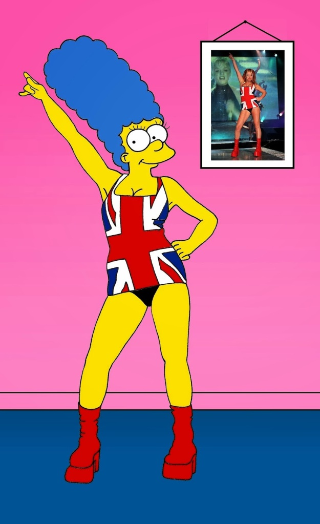 "Marge Simpson as Geri Halliwell Geri Halliwell ""Union Jack dress"" The Union Jack dress was an item of clothing worn by singer Geri Halliwell of the Spice Girls at the 1997 BRIT Awards. The mini dress featured a flag of the United Kingdom, the Union Jack, on the front, and a white peace symbol emblazoned on the black-coloured back of the dress. The next day the images of the dress made the front page of various newspapers around the world, and is now remembered as one of the most iconic pop moments of the 1990s and BRIT Awards history. The dress has become synonymous with the Spice Girls, Halliwell and the notions of Girl Power and Cool Britannia."