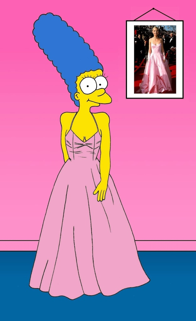 Marge Simpson as Gwyneth Paltrow Pink Ralph Lauren dress of Gwyneth Paltrow  The Pink Ralph Lauren dress of Gwyneth Paltrow refers to the pink dress, designed by Ralph Lauren, which Gwyneth Paltrow wore to the 71st Academy Awards on 21 March 1999 at the Dorothy Chandler Pavilion in Los Angeles. The dress is cited by several sources as one of the greatest dresses in the history of the red carpet of the Oscars.