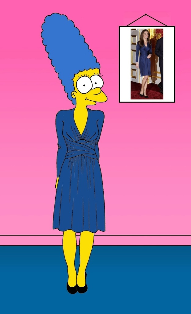 "Marge Simpson as Kate Middleton Kate Middleton's Engagement Dress  During the public announcement of her engagement to Prince William of Wales, on 16 November 2010, Catherine Middleton wore a blue Issa dress to coordinate with the sapphire engagement ring given to her by Prince William. The dress sold out within 24-hours of her appearance in it, and sparked a trend in ""little blue dresses""."