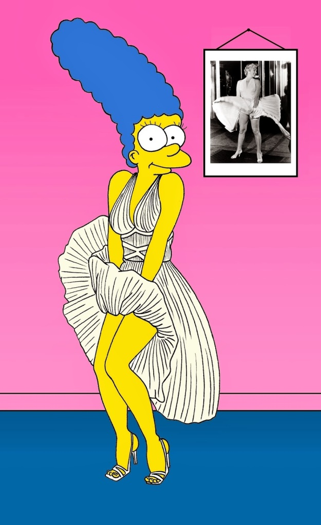 Marge Simpson as Marilyn Monroe White dress of Marilyn Monroe Marilyn Monroe wore a white dress in the 1955 film The Seven Year Itch, directed by Billy Wilder. The dress was created by costume designer William Travilla and was worn in one of the best-known scenes in the movie.[1] The dress is regarded as an icon of film history and the image of Monroe in the white dress standing above a subway grating blowing the dress up has been described as one of the iconic images of the 20th century.