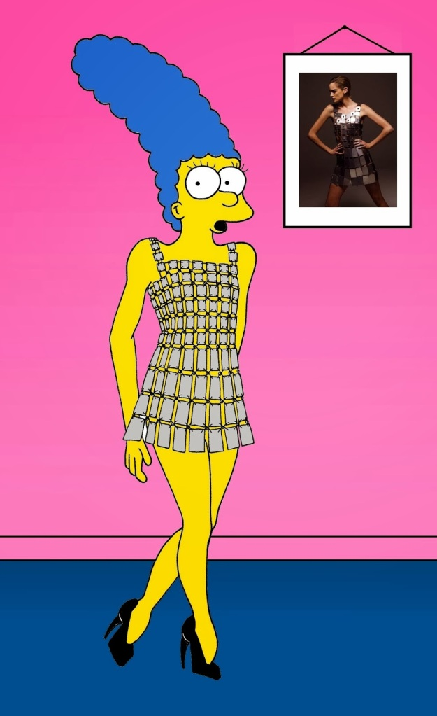 Marge Simpson in Paco Rabanne  Metal Dresses