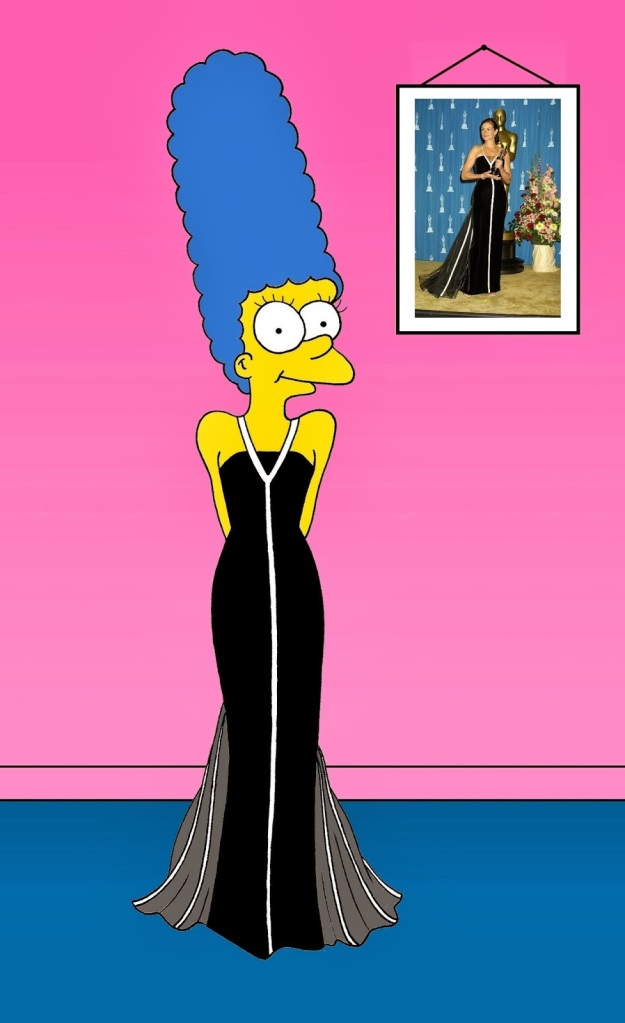 Marge Simpson as Julia Roberts Black and white Valentino dress of Julia Roberts  The black and white Valentino dress of Julia Roberts refers to the black and white Valentino dress worn by Julia Roberts at the 73rd Academy Awards on March 25, 2001, during which she won the Academy Award for her performance in Erin Brockovich.
