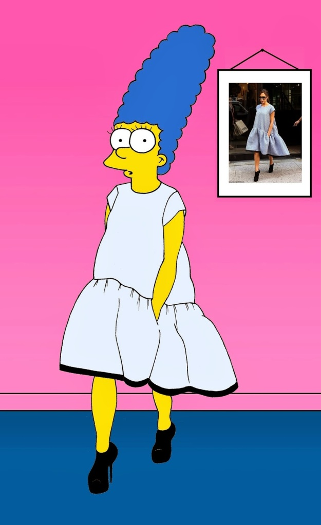 Marge Simpson as Victoria Beckham  Vicotria Beckam in NYC in a Victoria, by Victoria Beckham  Spring Summer 2014
