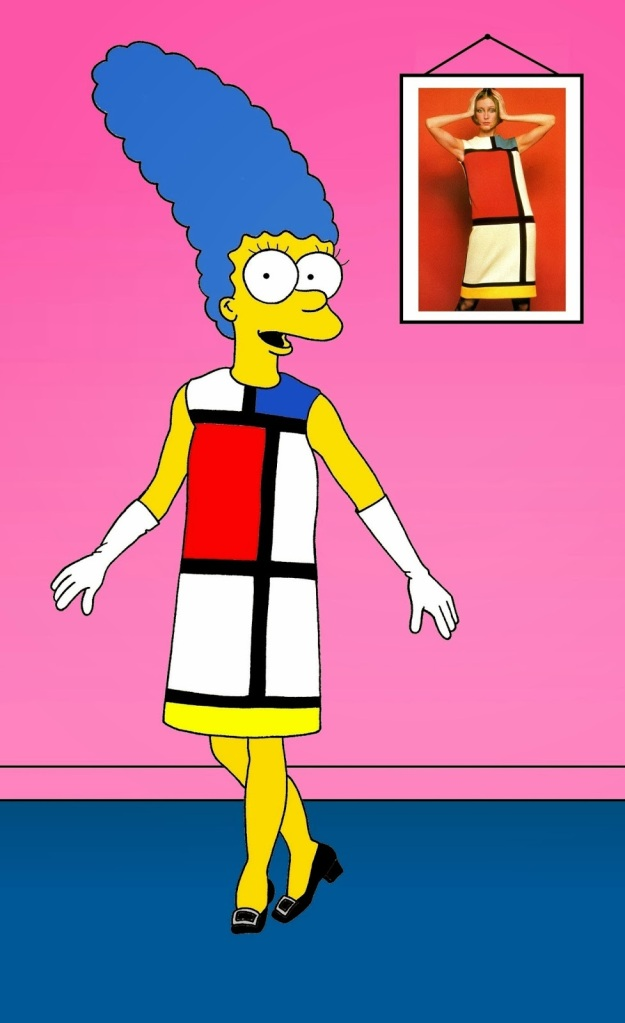 "Marge Simpson in Yves Saint Laurent ""Mondrian"" day dress, autumn 1965"