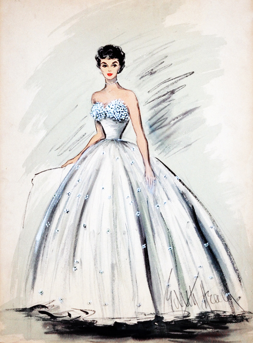 Costume design by Edith Head for Elizabeth Taylor in A Place in The Sun (1951)