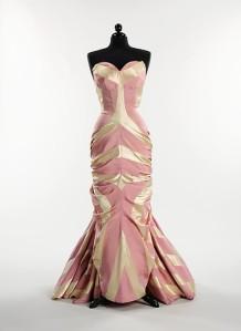 In true 'glitter-glamour' glory, Schiaparelli's pastel evening dress