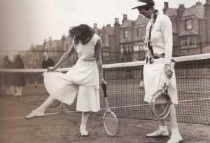 Schiaparelli designed this silk tennis outfit for Lili de Alvarez worn at Wimbledon in 1931.