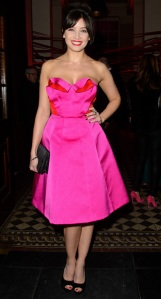 daisy-lowe-hot-pink-fuchsia-dress-party-dress-celebrity-trend-2013
