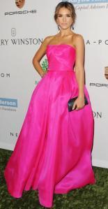 jessica-alba-hot-pink-fuschia-dress-celebrity-trend-2013