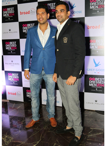 Indian cricketers Yuvraj Singh & Zaheer Khan during GQ Best Dressed Men 2014 awards at Palladium Hotel in Mumbai. (Photo: IANS)