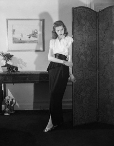 Young Lauren Bacall Models Evening Dress