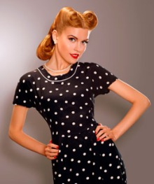 Woman in Blue Retro Polka Dot Dress. Pin Up Style