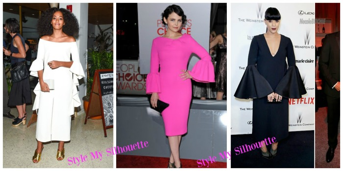 Solange Knowles, Ginnifer Goodwin, Tia Mowry in Midi Bell sleeve dress
