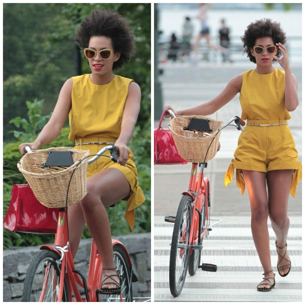 Solange Knowles in a mustard romper jumpsuit