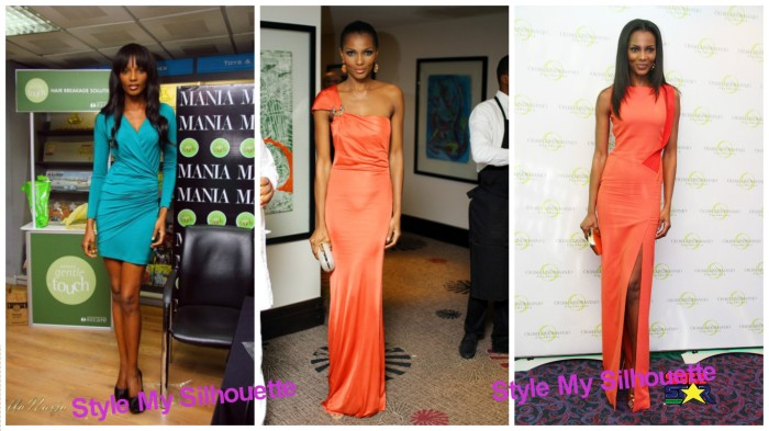 Agbani Darego in Ruched design