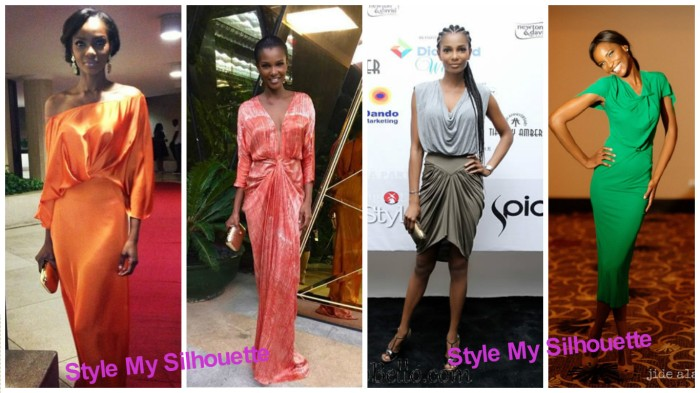 Agbani Darego in ruched designs