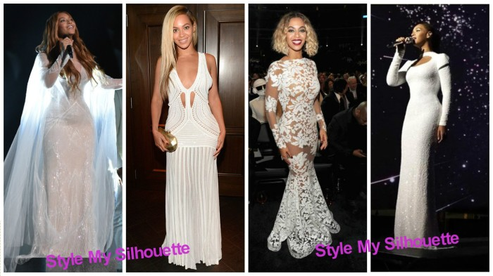 Beyonce in long white dresses