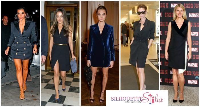 Blazer Dress - Kim Kardashian, Mila Kunis, Cara Delevigne, Victoria Beckham, Gwyneth Paltrow