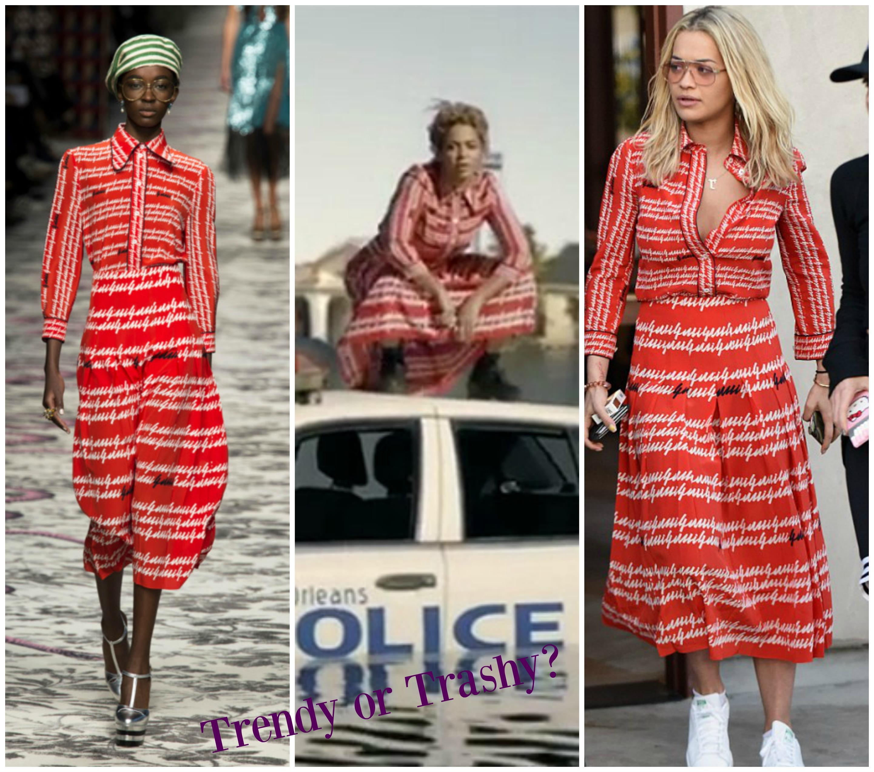 1ae4c8f4feb Gucci SS16 Print Dress Rita Ora Vs Beyonce