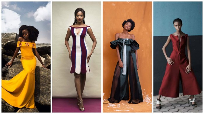 Off the shoulders by Nigerian designers, Nigerian celebrities, Clan diaries, Maki oh, Maison Mimi, Wana Sambo, Rita Dominic, Toke Makinwa, Genevieve Nnaji, Dakore Akande